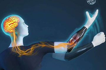 Graphic of person using prosthetic arm. Image credit Imperial College London
