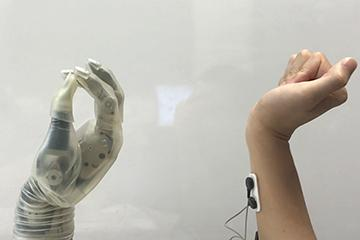 A prosthetic hand mimicing the movement of a real hand. Image credit NC State Unviersity News.